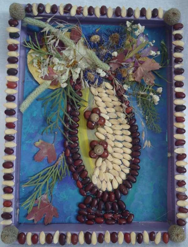 Поделки осенние из косточки семечек и фасоли