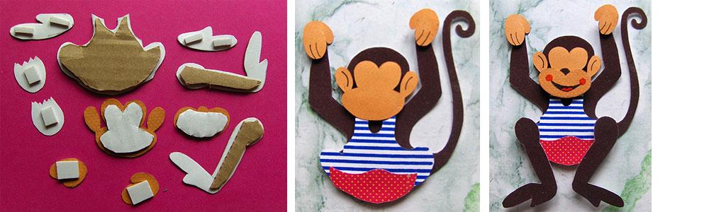 Объемная обезьяна своими руками из бумаги