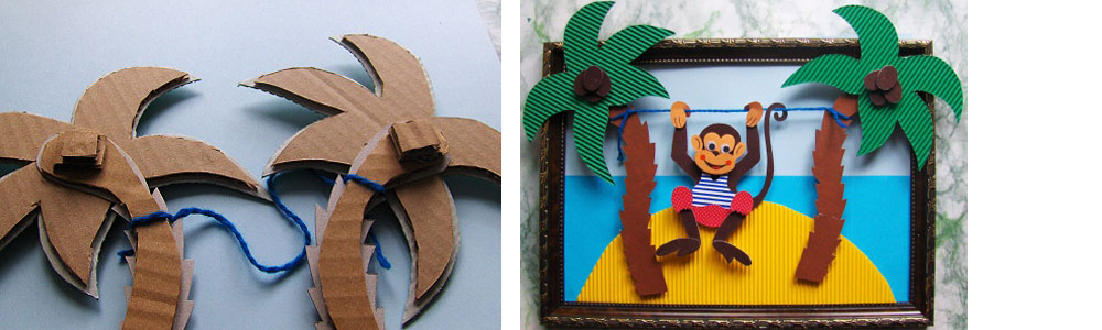 комплект другого поделка обезьянка из картона модель